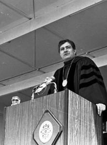 John Marburger at his Inauguration at Stony Brook University on May 1, 1981. (Statesman Photo)